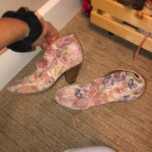 Floral ankle booties